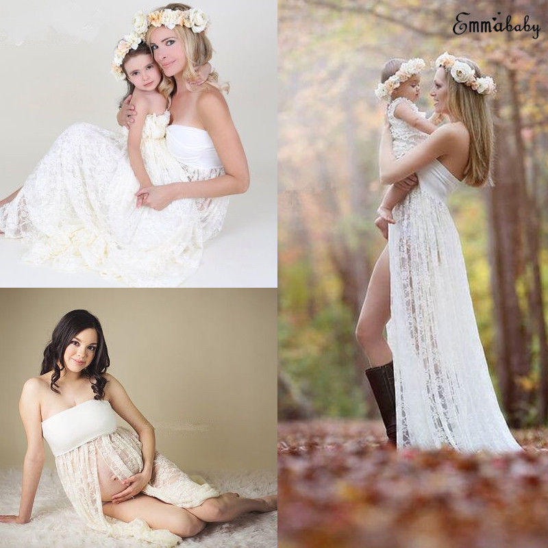 3af4304f5e759 Women's Clothing Pregnant Womens Off Shoulder Lace Long Maxi Dress Gown  Maternity Photo Shoot USA Dresses