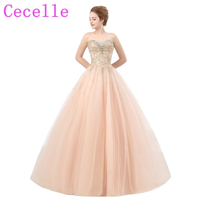 Blushing Ball Gown Long Prom Dresses 2019 New Sweetheart Crystals Corset  Back Floor Length Princess Tulle Teens Formal Prom Gown 90608fa3ed94