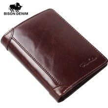 BISON DENIM genuine leather wallet Men red brown vintage purse card holder Brand men wallets dollar price Male Purse 4361