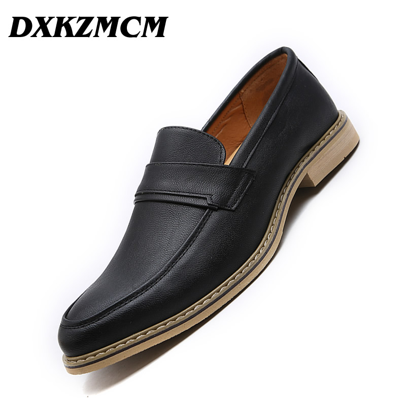 DXKZMCM Oxford Shoes For Men Leather Handmade Men Dress Shoes Fashion Pointed Toe Men Shoes Leather Male Flats Luxury brand designer caving men flats outer soles metallic toe leather shoes fashion pointed toe oxford ancient style men shoes