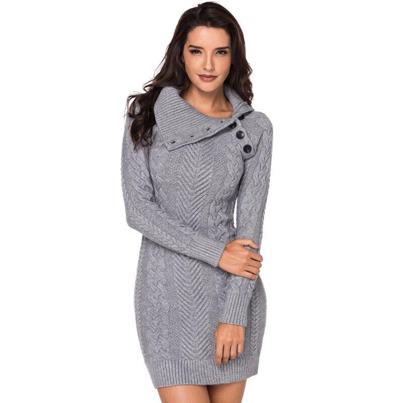 Asymétrique col boutonné gris/bleu/noir moulante pull robe en tricot tissu à manches longues Mini robe dames Sexy Clubwear AL27864