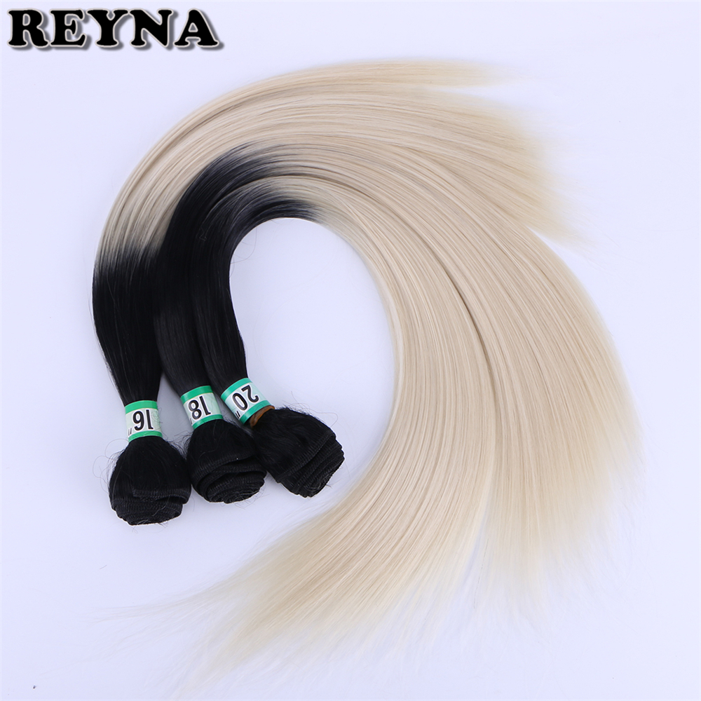 REYNA 16-20 Inch 3pcs/lot Straight Hair Bundles Ombre Color Synthetic Hair Fiber