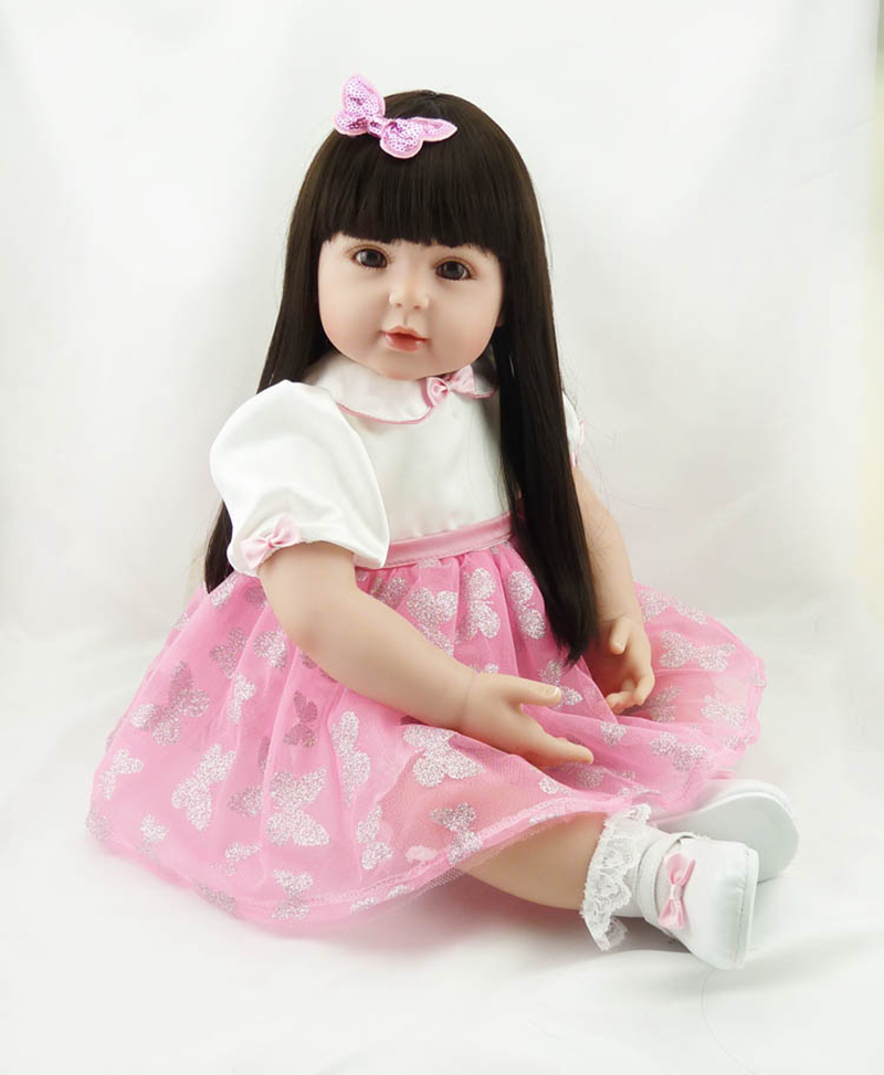 Pursue 22/56 cm Silicone Reborn Baby Doll Smile Girl With Long Hair Matching Butterfly Dress Cloth Body Soft Gift For Daughter pink wool coat doll clothes with belt for 18 american girl doll