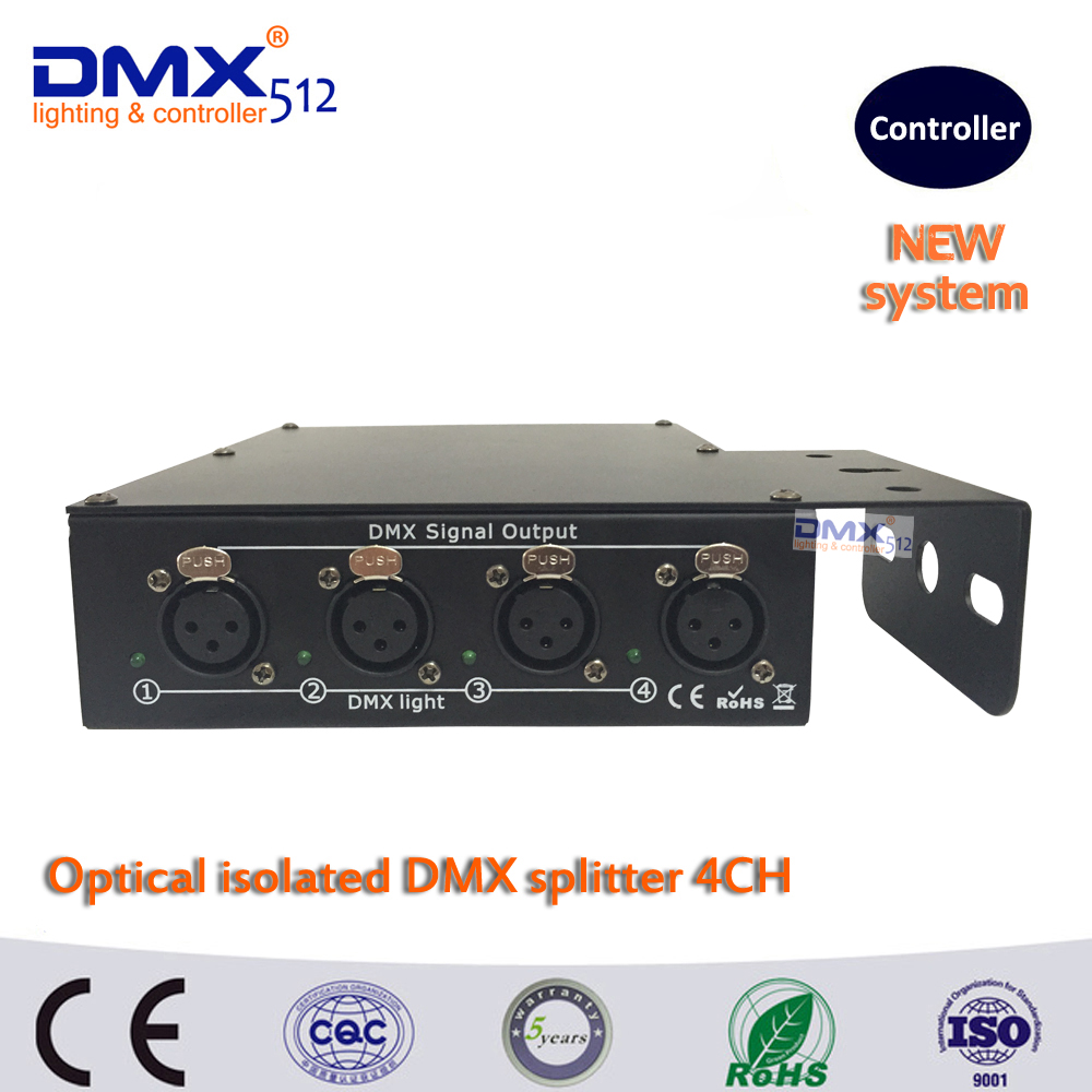 DHL Free shipping 100% Optical isolated DMX splitter 4 way dmx splitter for stage light