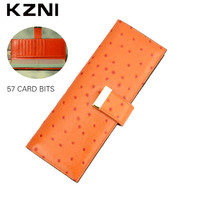 KZNI Genuine Leather Credit Card Wallets Business Women Card Holder Womens Wallets And Purses Porte Carte