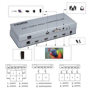 Image 2 - Novo 2x2 controlador de parede de vídeo 1 hdmi/dvi entrada 4 saída hdmi 1080 p processador de vídeo suporte 1x2/2x1/3x1/1x4/4x1 com rs232