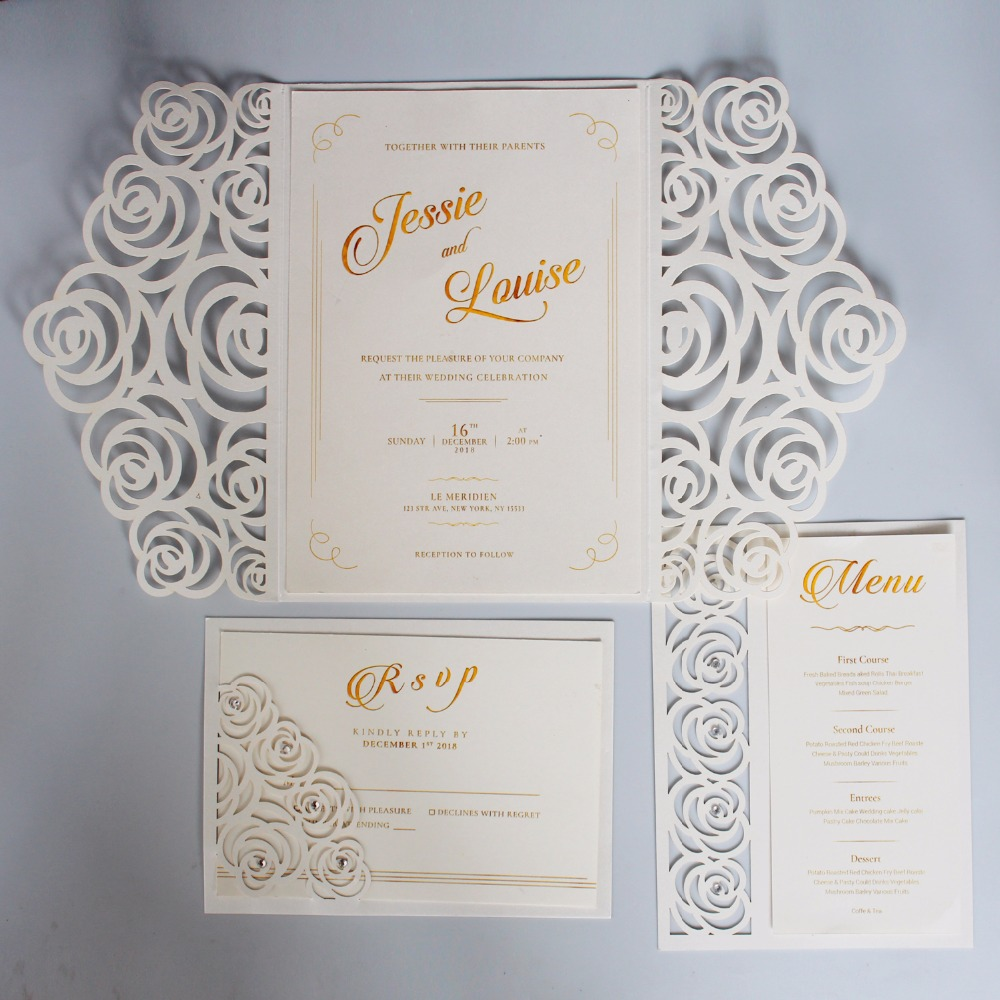 Off White Wedding Invitations Set Laser cutting Invitation Card, Elegant  Wedding Invite With Customized Wording Set of 50 pcs|Cards & Invitations| -  AliExpress