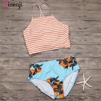 2017 New High Waist Bikini Women Swimsuit High Neck Striped Swimwear Brazilian Bikinis Set Sexy Bathing