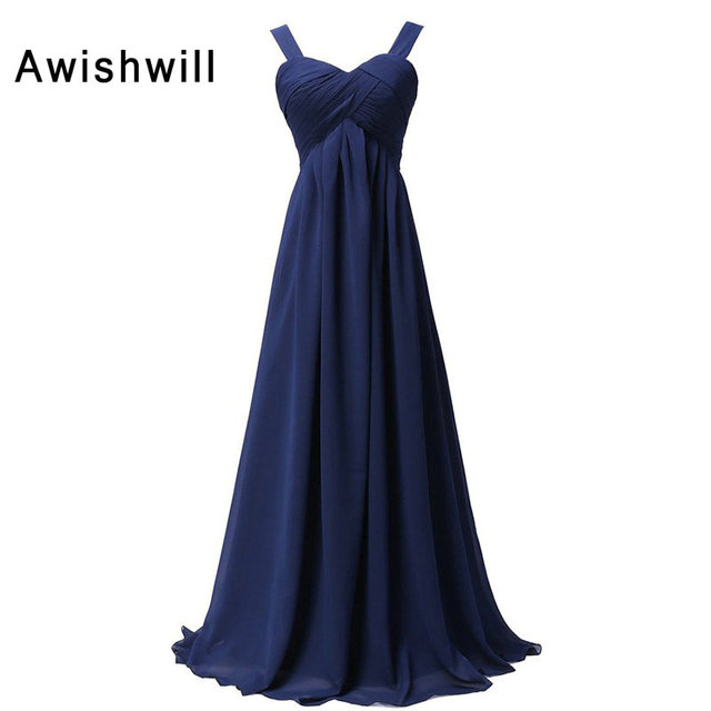 82e2e69eae7 Cheap On Sale Spaghetti Strap Ruched Bust Chiffon Floor Length Women Special  Occasion Party Dress Long Bridesmaid Dresses