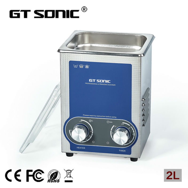 2L Ultrasonic cleaner heater power adjustable for contact lens Jewelry Rings Dental Eyeglasses PCB cleaning machine Transducer