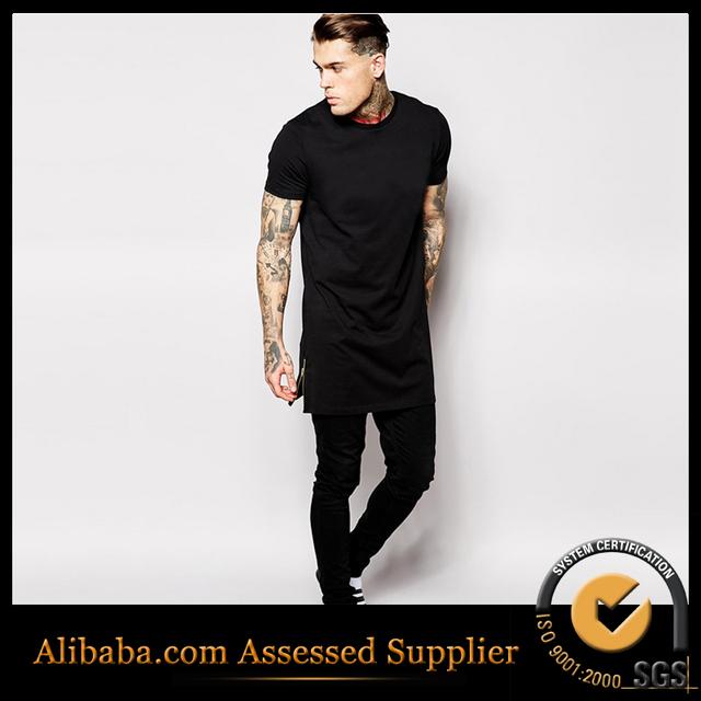 Hip hop camiseta 100% algodão tamanho EUA t-shirt longo dos homens com manga curta zíper lateral marca streetwear camiseta homens tee alto mais Homem