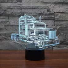 NightLight Led 7 Color Changing 3D Truck Modelling Car Shape Table Lamp Bedroom Bedside Acrylic Mood Lighting Fixture Xmas Gifts