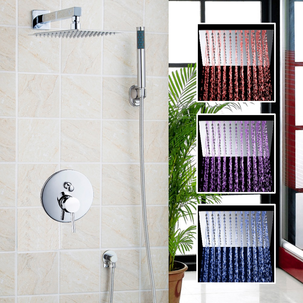 LED Luxury Chrome Rain Shower Head Arm Set Faucet Bathroom Wall Mounted  With the Head And Hand Sprayer Shower Set luxury led color changing golden brass rain round shower head wall mounted over head sprayer