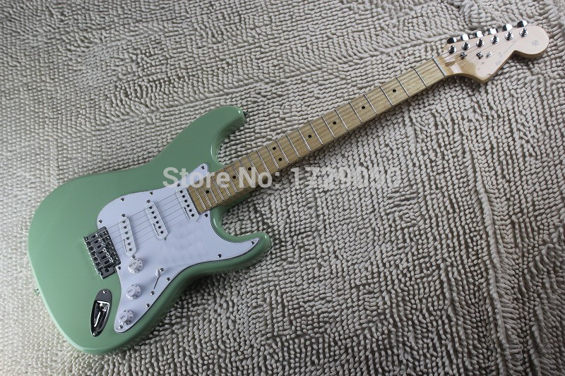 2017 china factory custom Top Quality New Custom ST Surf Green Electric Guitar Free Shipping 51  stratocaster стоимость