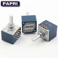 1PCS JAPAN ALPS RK27 Type 2x10K 50K 100K Stereo Volume Potentiometer LOG POT Attenuator For Hifi