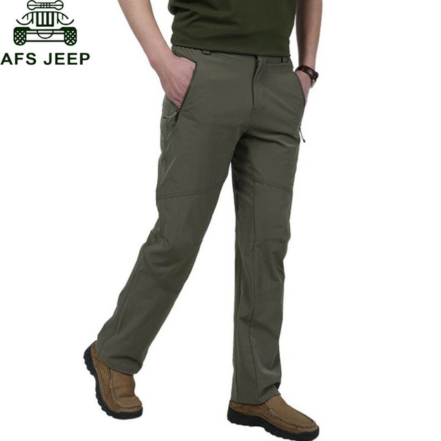AFS JEEP Quick-drying Pants 2016 New Brand Clothing Male Pants Thin Straight Cheap Clothing Army Green Waterproof Trousers