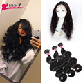 360 Lace Frontal with Bundle 7A Brazilian Virgin Hair Body Wave Weave with Closure 360 Lace Frontal Closure with Bundles