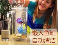 Slacker Fish tank with led light desktop Small aquarium Fish bowl Plastic Ecological fish tank Mini goldfish jar