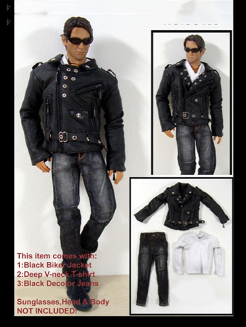 1/6 Scale Male Black Biker Jacket Coat White T Shirt Jeans Set for 12 Bodies1/6 Scale Male Black Biker Jacket Coat White T Shirt Jeans Set for 12 Bodies