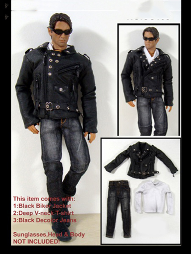 1/6 Scale Male Black Biker Jacket Coat White T Shirt Jeans Set for 12 Bodies