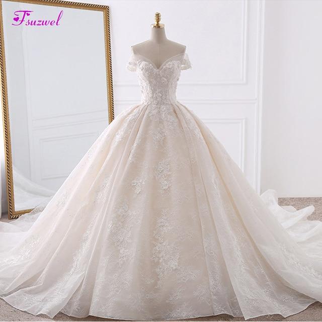 Robe de mariée en dentelle à fleurs, robe de mariée avec Appliques, robe de mariée princesse, col mignon, perles, Train Royal, robe de bal, 2020