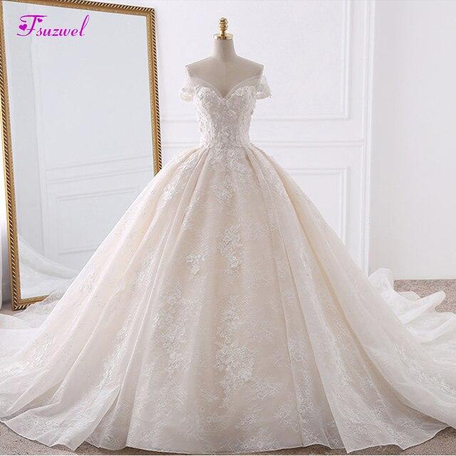 Vestido דה Noiva אפליקציות תחרה פרחי נסיכת חתונת שמלות 2020 מתוקה צוואר פניני רויאל רכבת כדור שמלת כלה שמלה