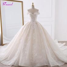 Vestido de Noiva Appliques Spitze Blumen Prinzessin Hochzeit Kleider 2020 Schatz Hals Perlen Königlichen Zug Ballkleid Braut Kleid