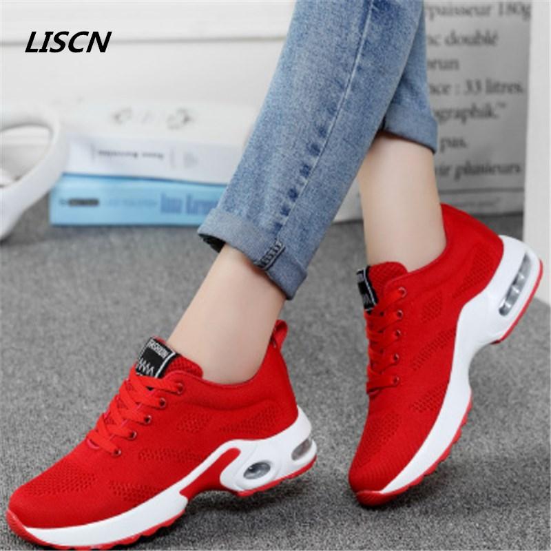 2018 Hot Sale fashion women casual shoes four seasons Leather net woman Cushion Air damping shoes zapatos mujer tenis feminino