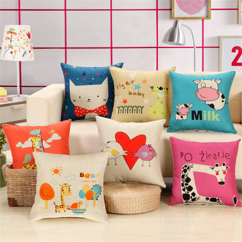 Cute baby sofa cushion cover knitted linen decoration Scandinavian style love and happiness pillowcase covers for cushion