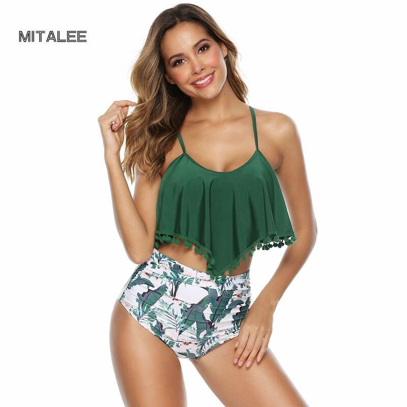 MITALEE High Waist Ruffle Swimwear Large Women Bikini Set Push Up Solid Swimsuit Halter Bandage Swimming Suit For Female in Bikinis Set from Sports Entertainment