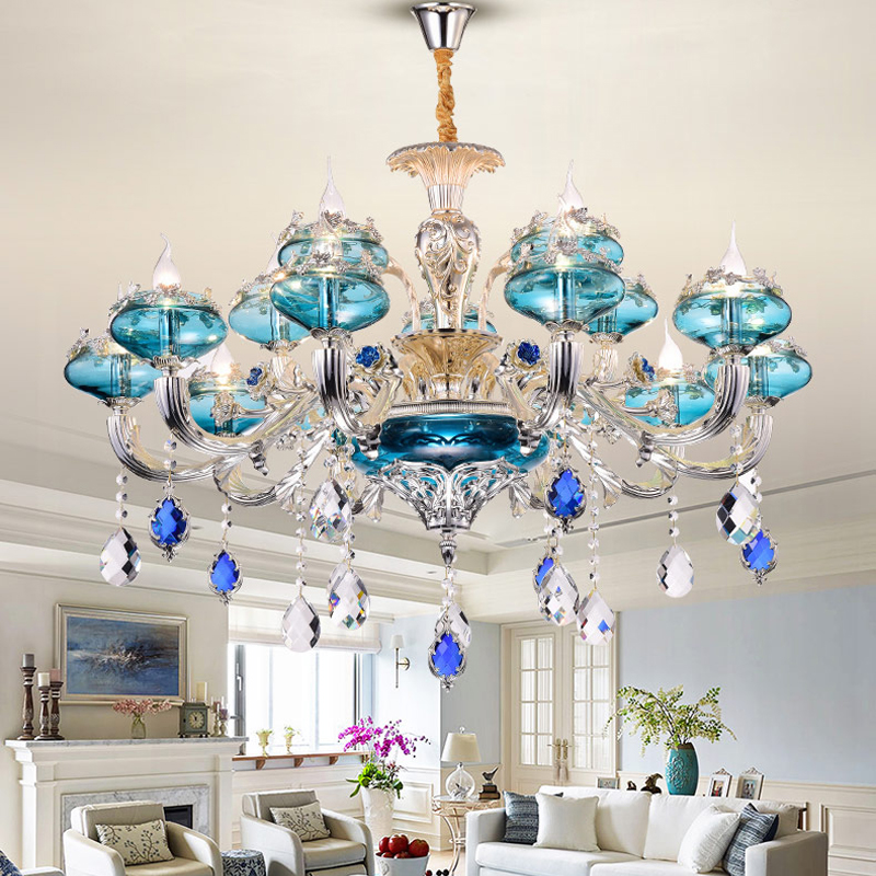 Europe Zinc Alloy Silver Crystal Chandelier Living Room Bedroom Hotel Hall Crystal Lamp Villa High-grade Blue Crystal Chandelier lumion бра lumion раеssаggiо 3618 1w