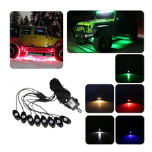 8Pcs in One RGB LED Rock Lights with Bluetooth Control Box Wiring Harness & Switch Decoration Atmosphere Light