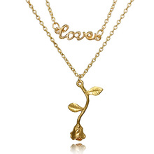 цена на 1 Pcs Delicate Rose Flower Pendant Necklace Charm Gold Silver Beauty Rose Jewelry Necklace For Women Girls drop shipping