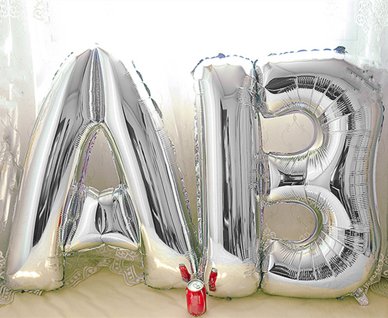 40 Large Silver Letters A Z Aluminum Air Foil Balloons Wedding Birthday Party Decoration Festival Party Supplies Home Decor