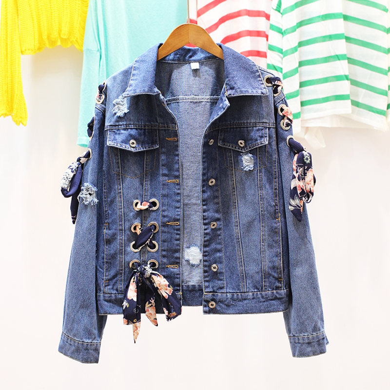 high quality 2017 Fashion Ladies South Korea lace UP decorated with spring autumn winter denim Vintage button   basic     jacket