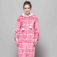 All In One Snowflake Slim Women Pajama High Quality Flannel Pajamas Sets Home Cartoon Animals Red