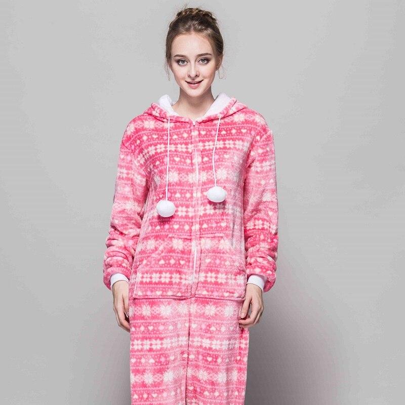 All In One Snowflake Slim Cartoon Pajamas For Women Adult Winter Flannel Pijama Home Animal Sleepwear Red Bird Hoodie Pyjima