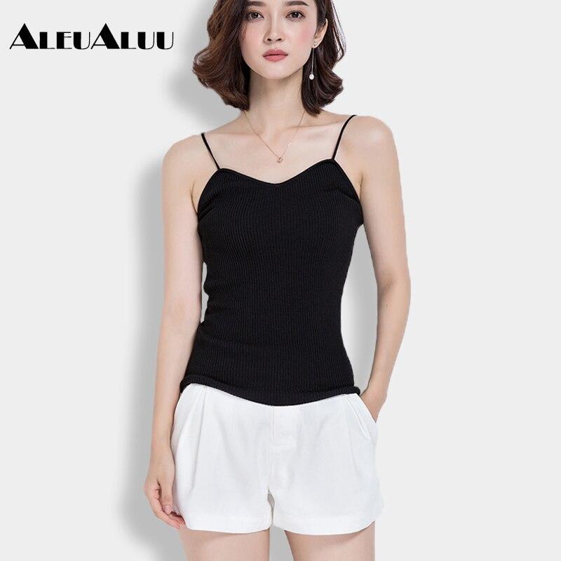 ALEUALUU Brand Spring And Summer Sweater Women Casual Knit Sun-top Elastic Solid Sexy Women Slim Camisole AEU103