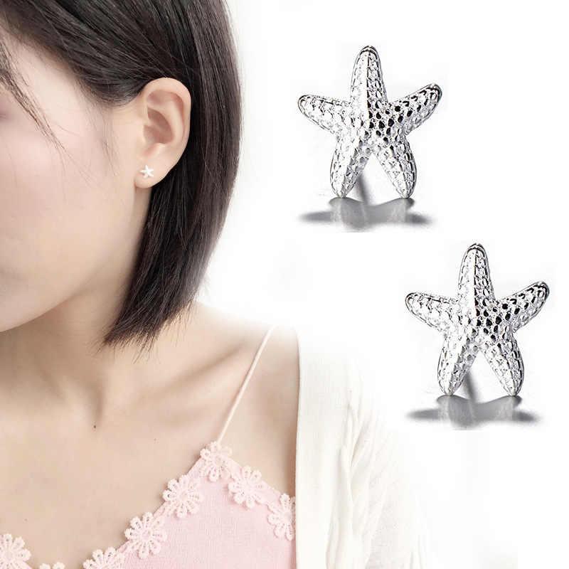 925 เงินสเตอร์ลิงปลาดาวสัตว์ต่างหูเด็กผู้หญิงเด็กของขวัญเครื่องประดับ brinco pequeno eh943