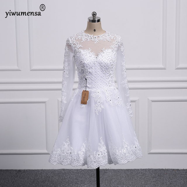 2018 New Long Sleeves lace a line wedding dresses short wedding ...