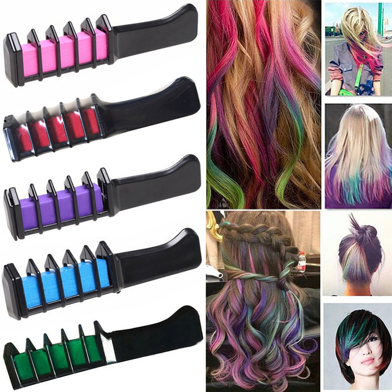 HOT 5 Colors Hair Dye brush Hair Care Temporary Hair Dye Combs Semi Permanent Hair Multicolor Chalk Powder With Comb image