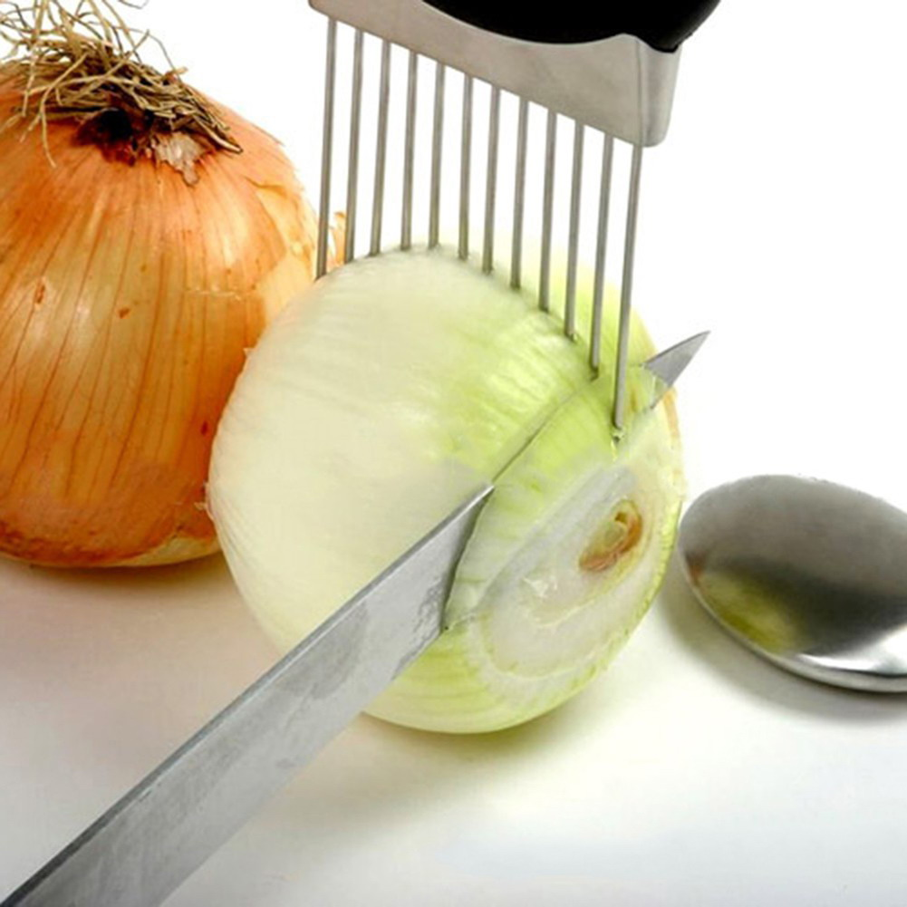 Easy Onion Holder Slicer Vegetable Tools Tomato Cutter Stainless Tteel Kitchen G