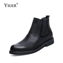YIGER New Men Chelsea boots genuine leather ankle boots man slip-on casual bots male martins boots Black fashion shoes    0265 цена и фото