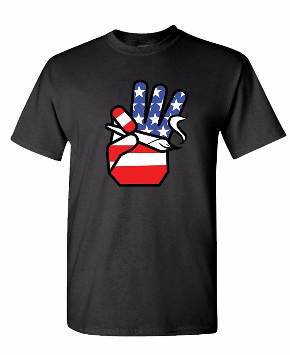 Brand 2018 Summer kpop Fashion Short Sleeve casually T-shirt Crew Neck Basic Tops Free shipping USA FLAG HAND HOLDING JOINT