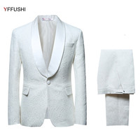 YFFUSHI 2018 Men Suit Men Single Breasted White Suits Tuxedo Grooms Wedding Suits for Men Party Dress Slim Fit Plus Size 6XL