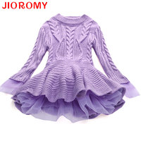 Thick Warm Girl Dress Christmas Wedding Party Dresses Knitted Chiffon Winter Kids Girls Clothes Children CLothing
