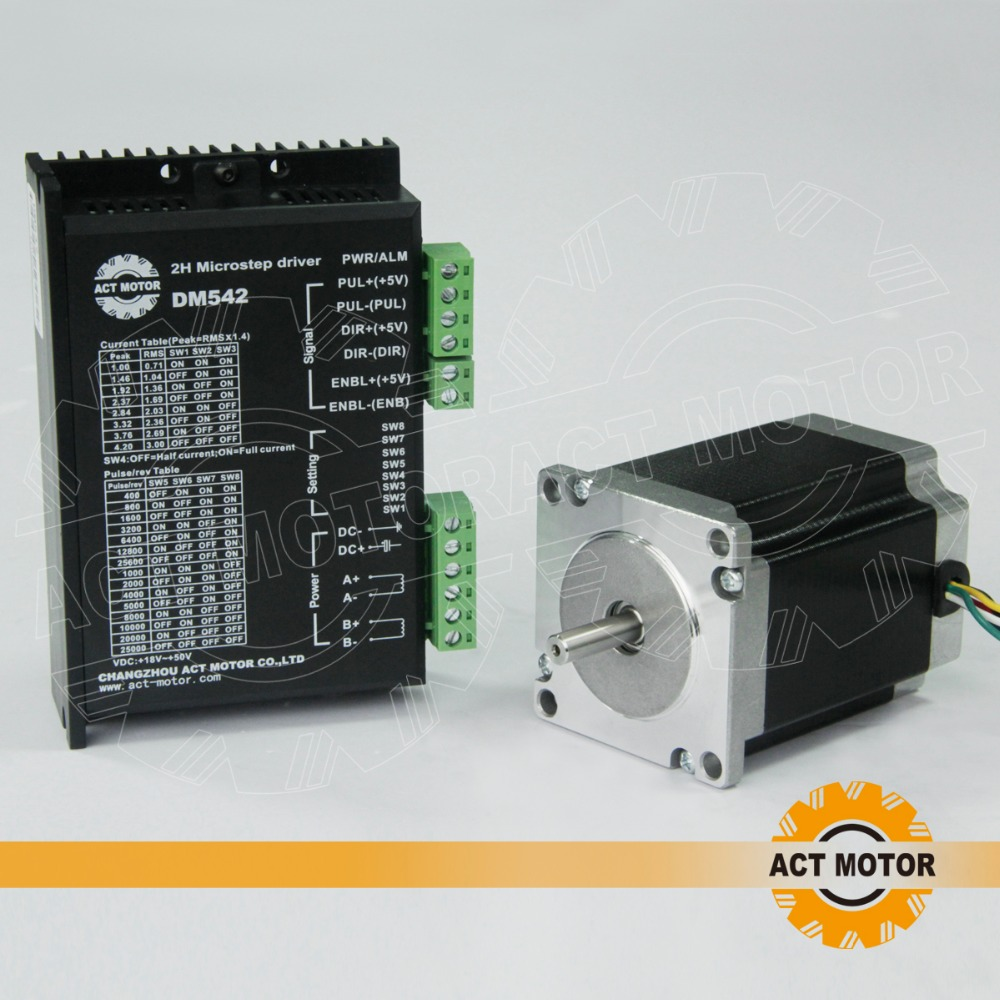 Free ship from Germany!ACT Motor 1PC Nema23 Stepper Motor 23HS8630B Dual Shaft 6-Lead 270oz-in 76mm 3A+1PC Driver DM542 4.2A 50V free ship from germany act 3pcs nema34 stepper motor 34hs1456b dual shaft 4 lead 1232oz in 118mm 5 6a 3pcs driver dm860 7 8a 80v