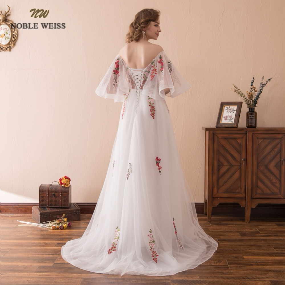 NOBLE WEISS Sexy A-Line Evening Dresses With Sweep Train Appliques Prom Gown Robe de Soiree 2019 Formal Special Occasion Gowns
