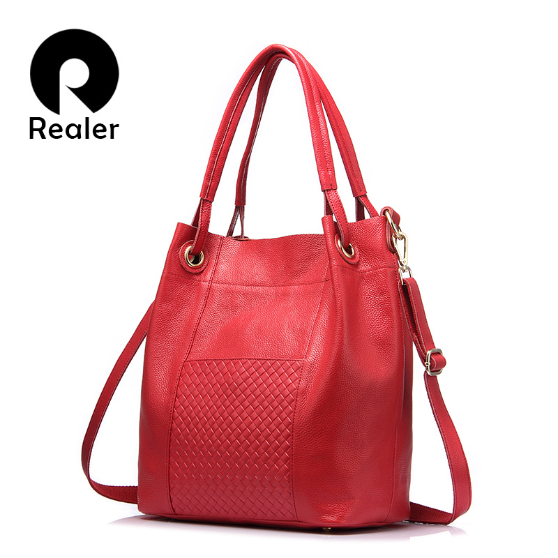 REALER brand design women genuine leather bag high quality women handbag red gray black tote bag