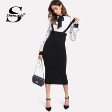 Sheinside High Waist Slit Back Pencil Skirt With Strap Black Knee Length Plain Zipper Skirt Women Elegant Spring Midi Skirt plain denim slim side slit skirt